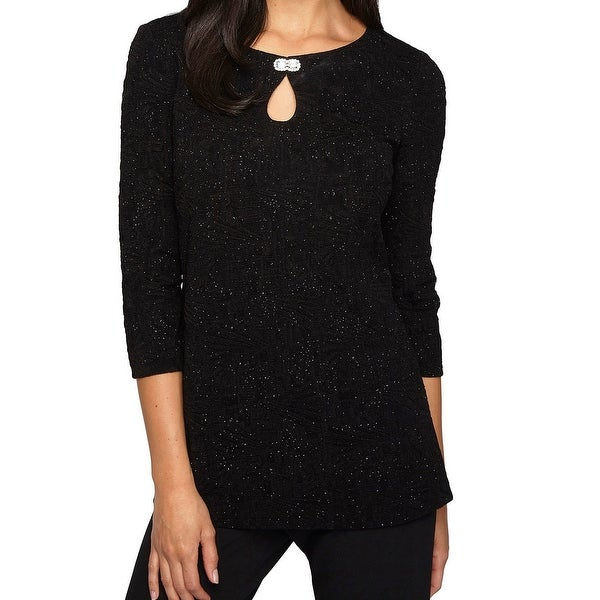 702d3a05fb7df Shop Alex Evenings NEW Black Womens Size Large L Shimmer Keyhole Blouse -  Free Shipping On Orders Over  45 - Overstock.com - 20371155