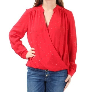 Womens Red Long Sleeve Faux Wrap Top Size 10