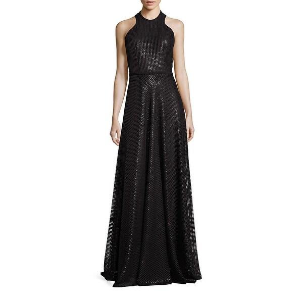 3d221976ca Shop Carmen Marc Valvo Embroidered Sequin Halter Evening Gown Dress ...