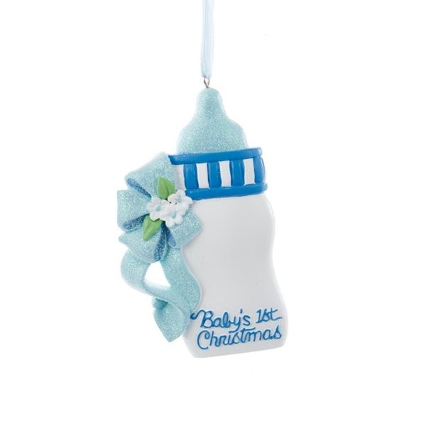 """4"""" Blue Glittered """"Baby's 1st Christmas"""" Baby Bottle Christmas Ornament for Personalization"""