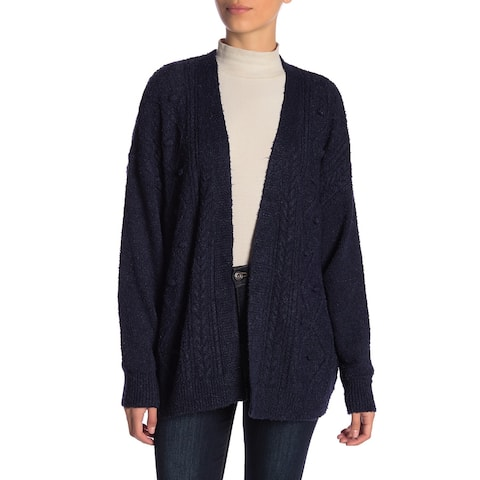 14th & Union Blue Womens Size XS Cable Knit Detail Open Cardigan