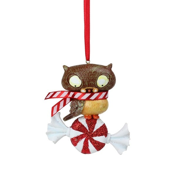 "3"" Peppermint Twist Decorative Owl on Candy Christmas Ornament"
