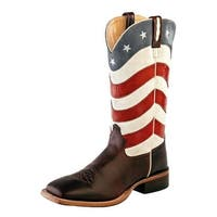 Old West Cowboy Boots Mens Flag Broad Square Toe Brown Red