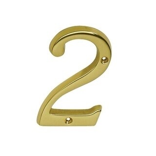 """Schlage SC2-3026-605 #2 Classic Tradition House Number 2, 4"""", Bright Brass"""
