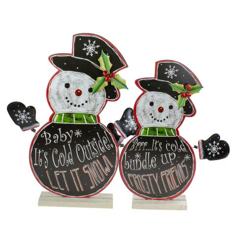 """Set of 2 Black and White Standing Snowmen Christmas Tabletop Figurines 18.5"""""""