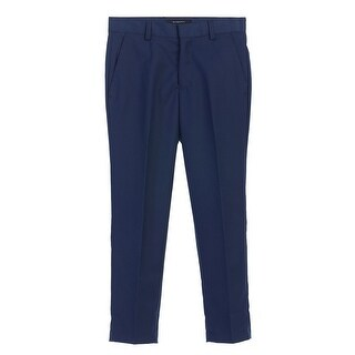 Boys Royal Blue Solid Color Flat Front Side Pockets Pants 8-18