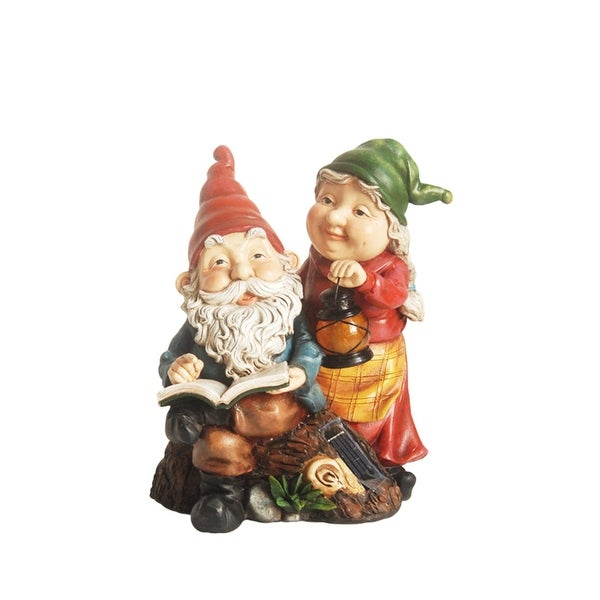"""11.5"""" Reading Forest Gnome Couple w/ Solar Powered LED Lighted Lantern Outdoor Patio Garden Statue"""