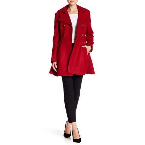 Laundry By Shelli Segal Fit & Flare Wool Blend Jacket, Red Dahlia, Large