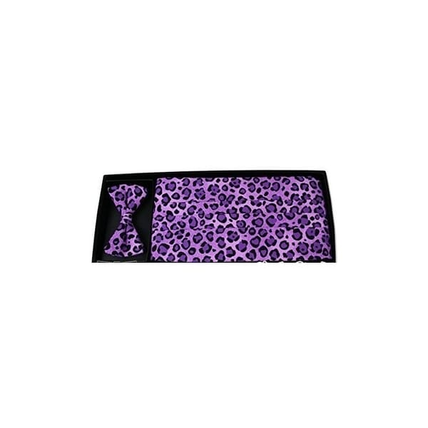 140c2ec26de7 Shop Violet Leopard Animal Print Bow Tie and Cummerbund Set - One Size Fits  Most - Free Shipping Today - Overstock - 27033437