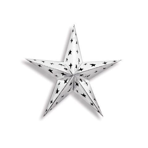 """Starry Night Themed Silver 3-D Foil Star Cutout Party Decoration 12"""""""