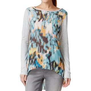 Two by Vince Camuto Womens Tunic Top Mixed Media Keyhole