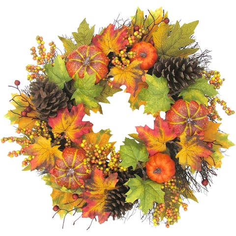 Fraser Hill Farm 24-inch Fall Harvest Wreath Door Hanging with Pumpkins, Mixed Leaves and Pine Cones - Multi