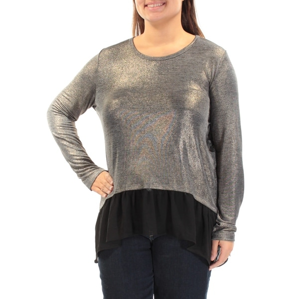d2428845adedc Shop Womens Gold Long Sleeve Jewel Neck Casual Top Size XL - Free Shipping  On Orders Over  45 - Overstock - 21389253