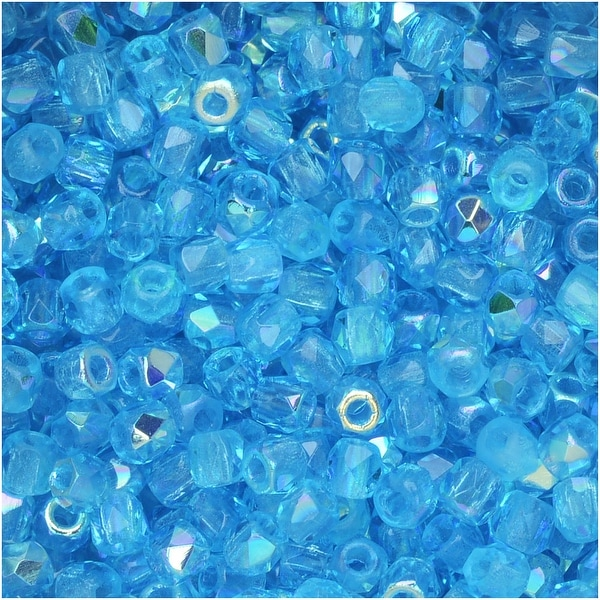 True2 Czech Fire Polished Glass, Faceted Round Beads 2mm, 50 Pieces, Aqua AB