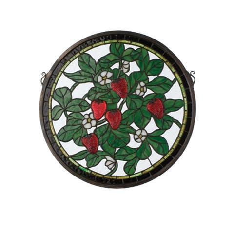 """Meyda Tiffany 20728 17"""" W X 17"""" H Strawberry Medallion Stained Glass Window"""