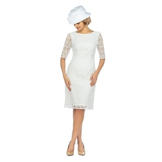 Link to Giovanna Signature Elbow Length Sleeve Lace Shift Dress Similar Items in Dresses