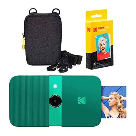 KODAK Smile Instant Print Digital Camera (Green) Soft Case Kit