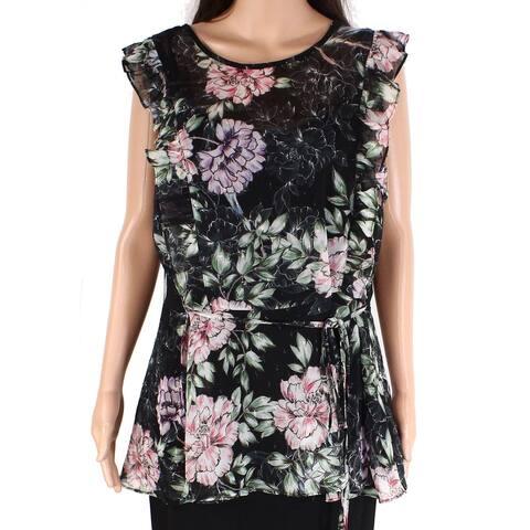 City Chic Women's Top Black Size 18W Plus Floral-Print Peplum Tank