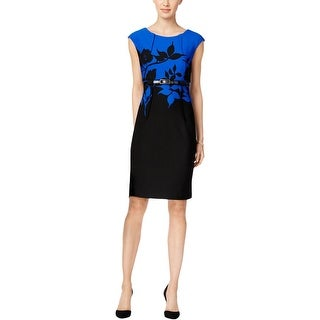 Connected Apparel Womens Petites Wear to Work Dress Pintuck Floral Printed