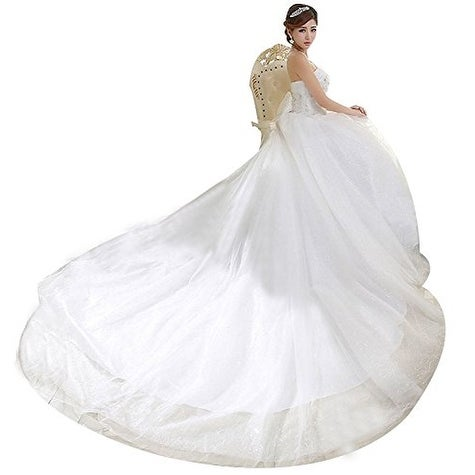 Eyekepper Strapless Train Bridal Gown Wedding Dress For Bride 8 ...