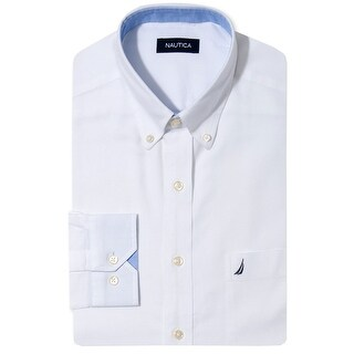 Nautica White Oxford Dress Shirt 17 32/33 Classic Fit Ocean Washed