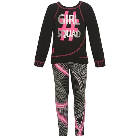 "Little Girls Neon Pink ""Girl Squad"" Print Mixed Stripes 2 Pc Pant Set"