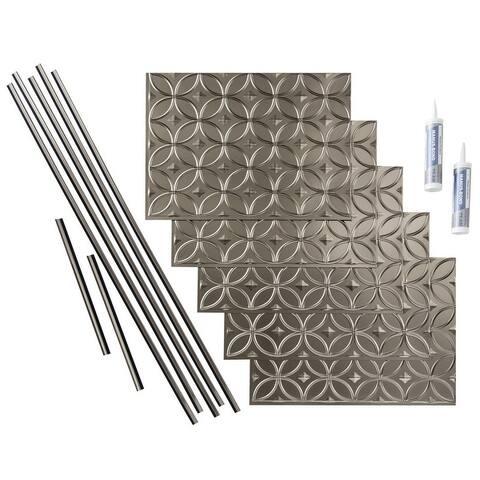 Fasade Rings Brushed Nickel 15 sq. ft. Backsplash 15 Sq Ft Kit