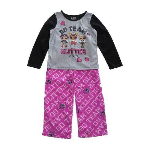 LOL Girls Black Gray Pink 2pc Long Sleeve Top Bottoms Pajama Set