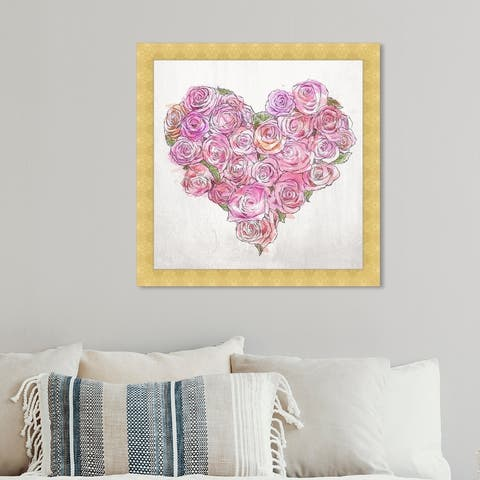 Oliver Gal 'Heart of Roses' Floral and Botanical Wall Art Framed Print Florals - Pink, White