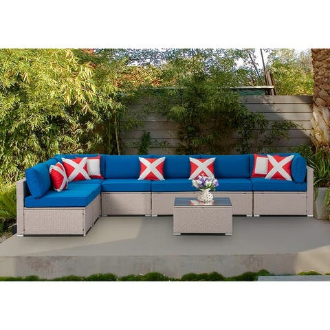 COSIEST 8-Piece PE Wicker Outdoor Furniture Set w/ cushions