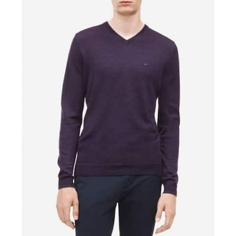 Calvin Klein Mens Sweaters Purple Size 2XL Ribbed Trim V-Neck Pullover
