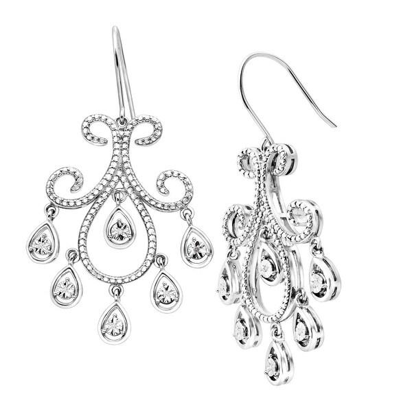 Chandelier Drop Earrings with Diamonds in Sterling Silver