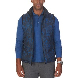 Nautica Reversible Waterproof Printed Quilted Vest Estate Blue Large L