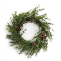 "Pack of 2 Long Needle with Pine Cone Artificial Christmas Decorative Pine Wreath 22"" - Brown"