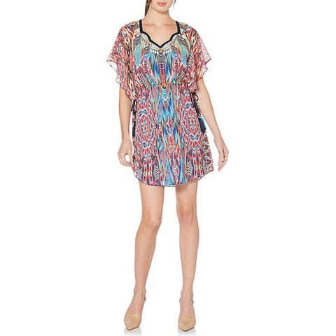 Laundry by Shelli Segal Printed Chiffon Flutter Sleeve Dress, Hibiscus, 6