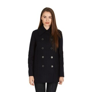 Dior Women's Navy Wool Blend Double Breasted Peacoat