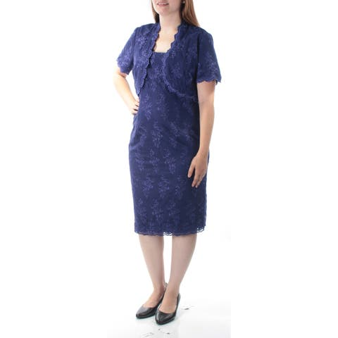 ALEX EVENINGS Womens Blue Embroidered W/ Jacket Sleeveless Square Neck Knee Length Evening Dress Size: 12
