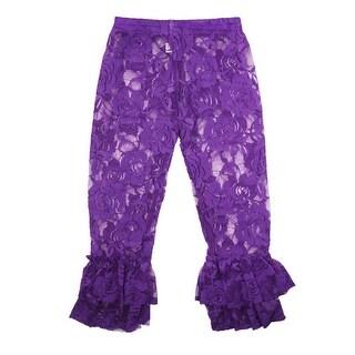 Little Girls Purple Rose Lace Elastic Waist Double Ruffle Cuff Pants 2T-6