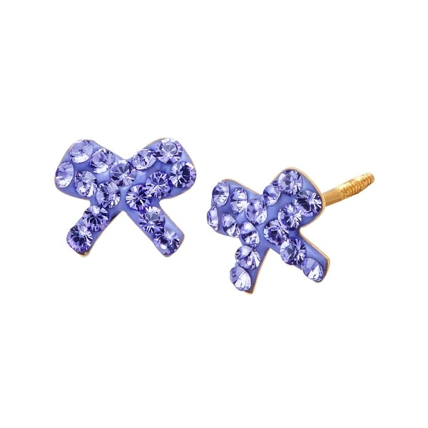 Crystaluxe Girl's Bow Stud Earrings with Purple Swarovski elements Crystals in 14K Gold