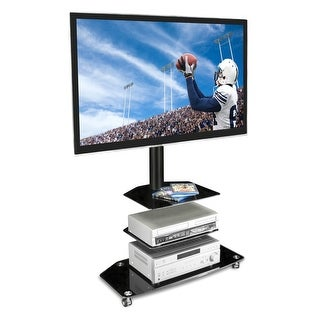 Mount-It! Mobile TV Stand with Rolling Casters & Three-Tiered Glass Shelves