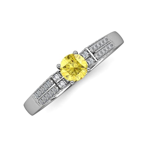 TriJewels Sapphire Diamond Accent Women Engagement Ring 14K White Gold