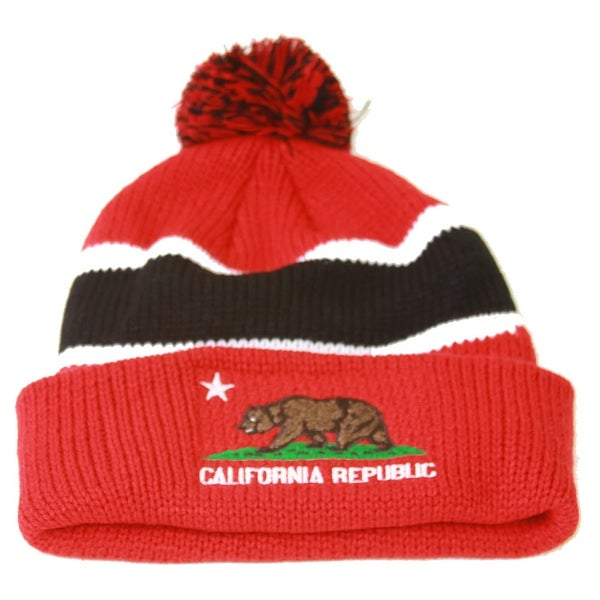 1d0b06b5fd4 Shop California Republic Winter Cuff Beanie w  Pom - Red Black - Free  Shipping On Orders Over  45 - Overstock - 16948714