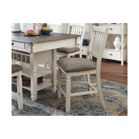 Ashley D647-124 Antique White Finish Upholstered Barstool (4 Pack)