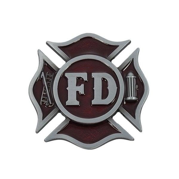 Fire Department Cross Pewter Finish Belt Buckle