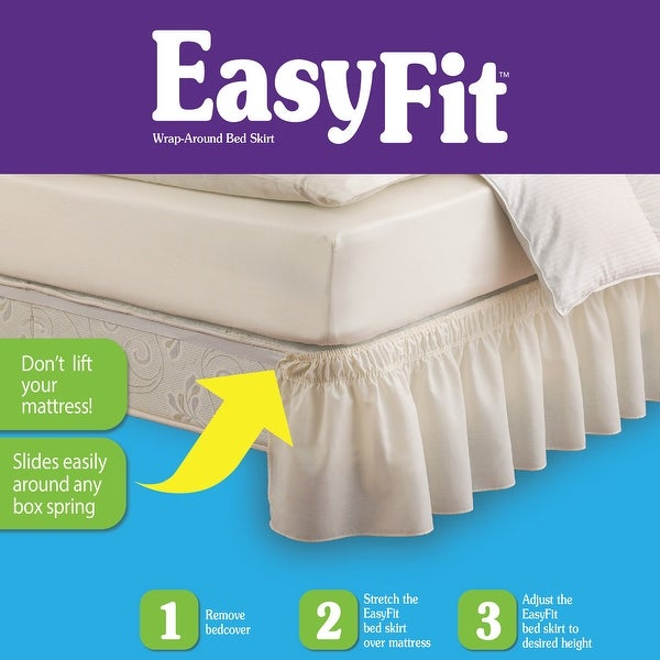 Ivory Twin//Full Easy Fit Pom Fringe Wrap Around Easy On//Off Dust Ruffle 18-Inch Drop Bedskirt