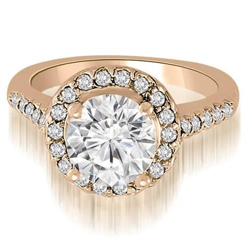 1.30 cttw. 14K Rose Gold Halo Round Cut Diamond Engagement Ring