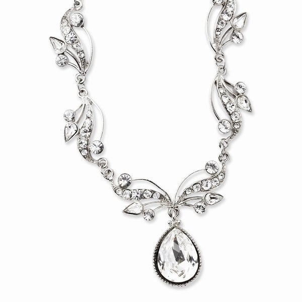 Silvertone Austrian Crystal Elements Necklace - 16in