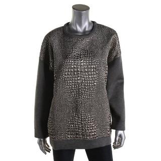 Moncler Womens Pullover Top Metallic Embossed Animal Print - l