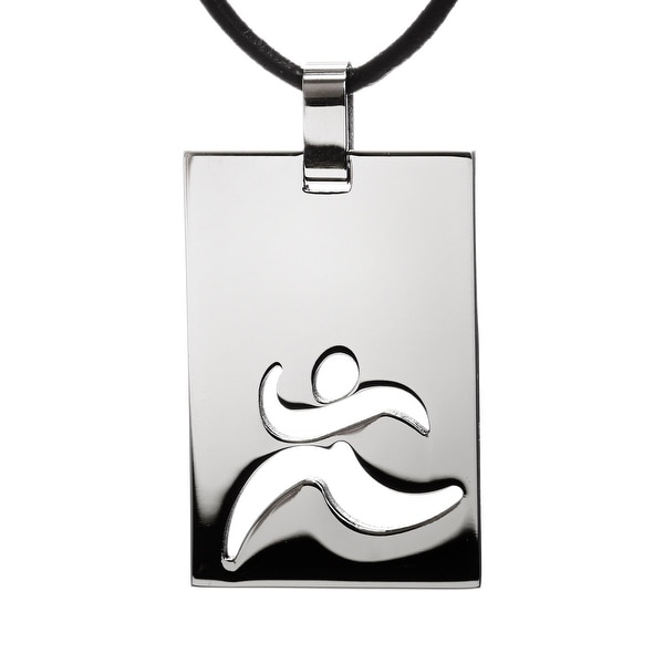 "Chisel Polished Stainless Steel Cutout Runner Pendant on 18"" Leather Cord Necklace (2 mm) - 18 in"