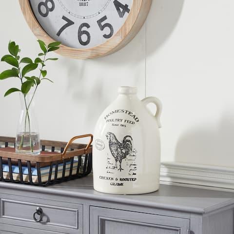 Beige Ceramic Farmhouse Vase 12 x 8 x 8 - 8 x 8 x 12